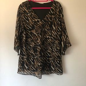 Animal Print Blouse with Flared Sleeves